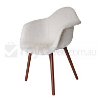 Replica Eames DAW Hal Chair in Ivory and Walnut
