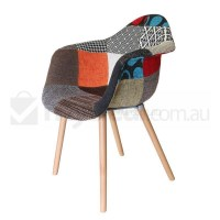 Replica Eames DAW Hal Chair in Patches and Natural