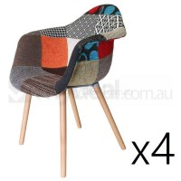 4x Replica Eames DAW Hal Chair in Patches & Natural