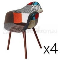 4x Replica Eames DAW Hal Chair in Patches & Walnut