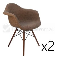2x Replica Eames DAW Dining Chair in Brown & Walnut