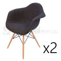 2x Replica Eames DAW Dining Chair Charcoal Natural