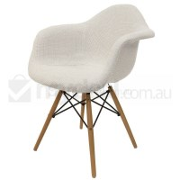 Replica Eames DAW Dining Chair in Ivory and Natural