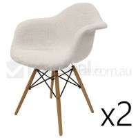 2x Replica Eames DAW Dining Chair - Ivory & Natural