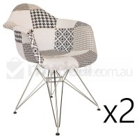 2x Replica Eames DAR Dining Chair Patches & Chrome