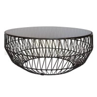 Modern Bend Wire Smoke Glass Coffee Table in Black