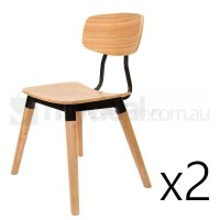 2x Replica Sean Dix Dining Chair in Natural & Black