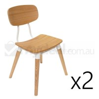 2x Replica Sean Dix Dining Chair in Natural & White