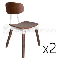 2x Replica Sean Dix Dining Chair in Walnut & White