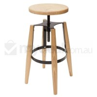 Replica Turner Wooden Bar Stool w Black Steel Frame
