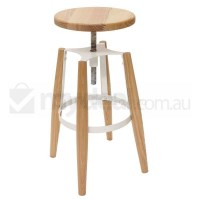 Replica Turner Wooden Bar Stool w Steel Frame White