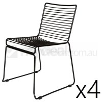 4x Replica Xavier Bend Wire Dining Chair in Black