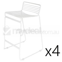 4x Replica Xavier Studio Bend Wire Bar Stool White