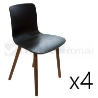 4x Replica Jasper Morrison Hal Chair Black & Walnut