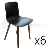 6x Replica Jasper Morrison Hal Chair Black & Walnut