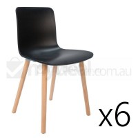 6x Replica Jasper Morrison Hal Chair Black Natural
