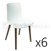 6x Replica Jasper Morrison Hal Chair White & Walnut