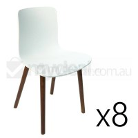 8x Replica Jasper Morrison Hal Chair White & Walnut