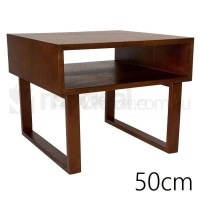 Olle Square Wooden Bedside Table in Walnut 50cm