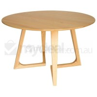 Delta Round Ash Wood Dining Table in Natural 120cm