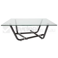 Tayo Glass Coffee Table in Black with White Rings