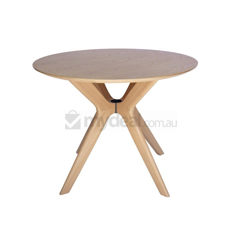 Doreen Collection Wood Round Dining Table Natural 100cm Buy