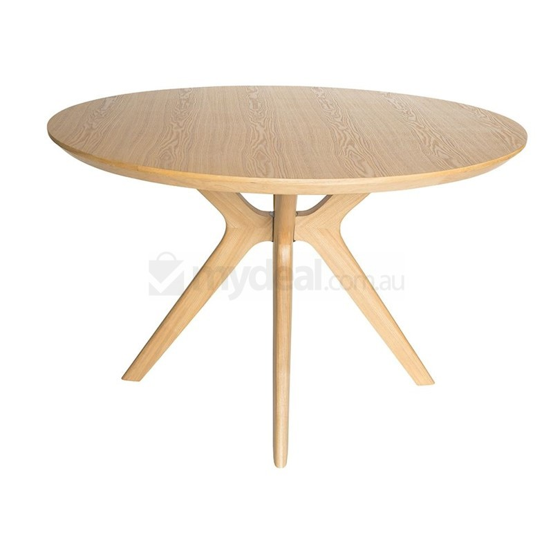 Doreen Collection Wood Round Dining Table Natural 120cm Buy