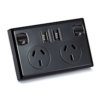 6x Dual USB & Australian Power Supply Socket Black