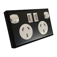 6x Dual USB & AU Power Supply Socket Black & White