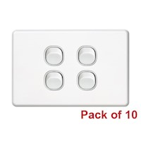 10x Four Gang Horizontal Wall Plate Light Switch
