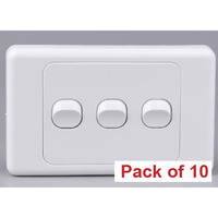 10x Triple Gang Horizontal Wall Plate Light Switch