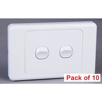 10x Double Gang Horizontal Wall Plate Light Switch