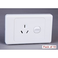 10x Horizontal GPO Power Socket with Switch 10A