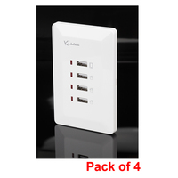 4x Quadruple USB Port Australian Wall Plate White