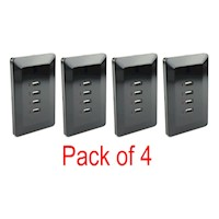 4x Quadruple USB Port Australian Wall Plate Black