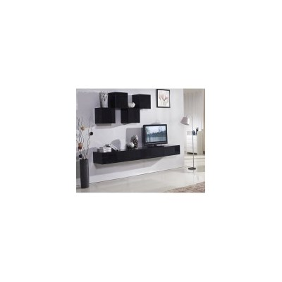 Galaxi Floating TV Cabinet in Gloss Black 2.4m