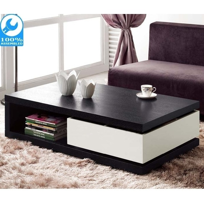 Ellana Coffee Table With Shelf And Drawer In Black