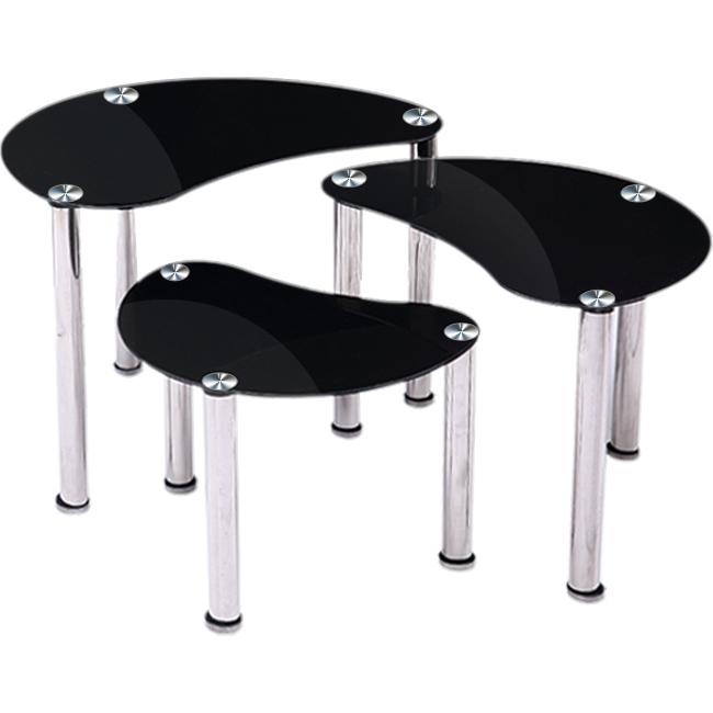 3pc glass oval nesting coffee tables set in black buy