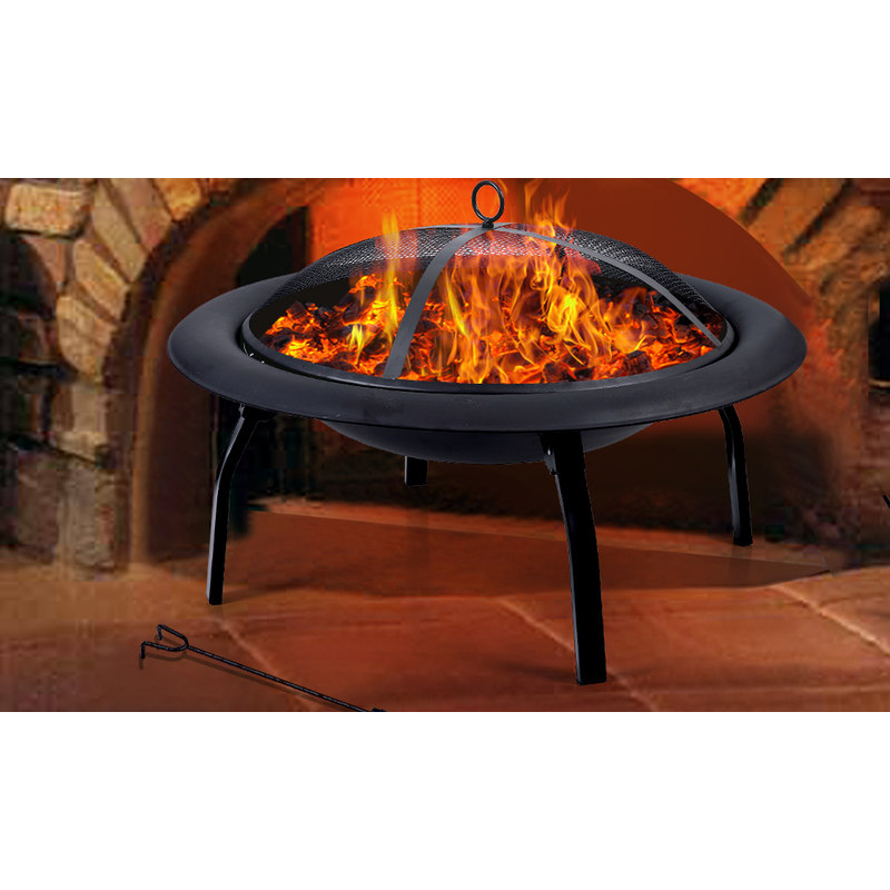 Portable folding steel outdoor fire pit heater 30 inch for Buy outdoor fire pit