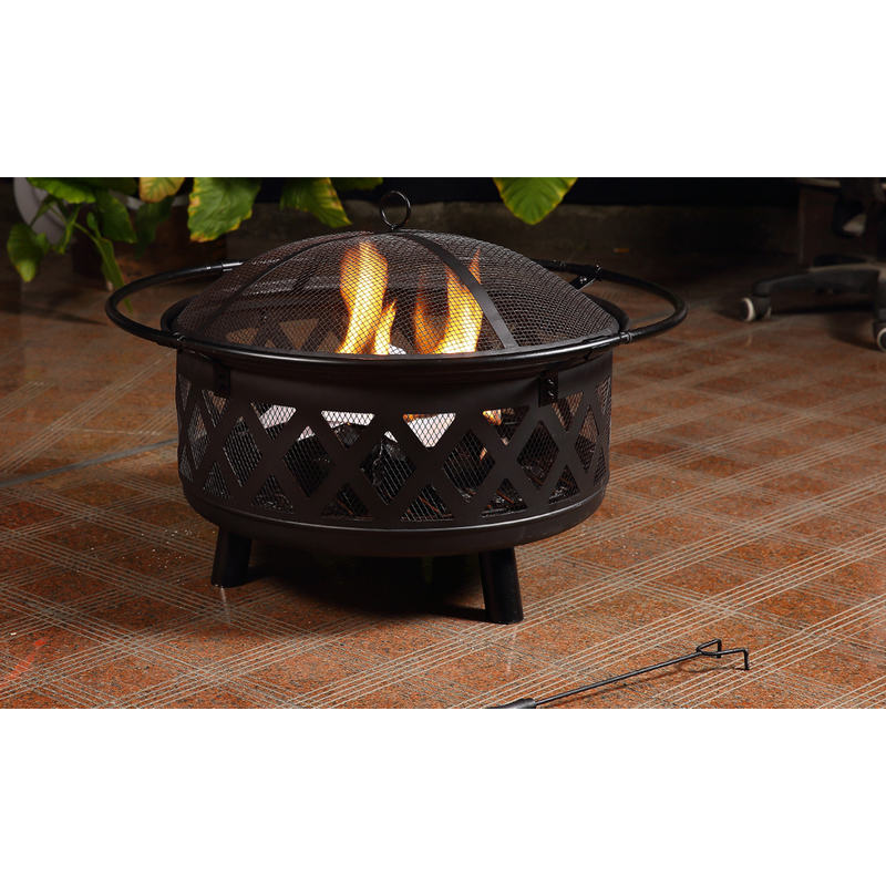 Portable outdoor fire pit heater with mesh cover buy for Buy outdoor fire pit