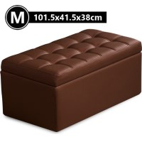 PU Leather Tufted Storage Ottoman in Brown 101.5cm