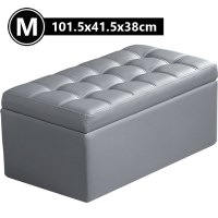 PU Leather Tufted Storage Ottoman in Grey 101.5cm