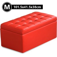 PU Leather Wood Tufted Storage Ottoman Red 101.5cm