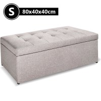 Faux Linen Fabric Storage Ottoman in Beige 80cm