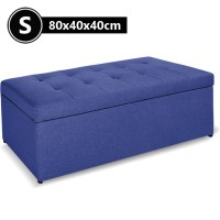 Small Faux Linen Tufted Storage Ottoman Blue 80cm