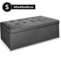 Faux Linen Fabric Storage Ottoman in Dark Grey 80cm