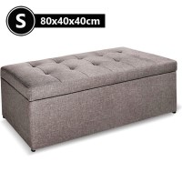 Faux Linen Fabric Storage Ottoman in Grey 80cm