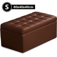 Small PU Leather Tufted Storage Ottoman Brown 80cm