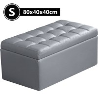 PU Leather Tufted Storage Ottoman in Grey 80cm