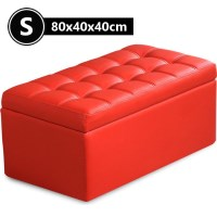 PU Leather Tufted Storage Ottoman in Red 80cm